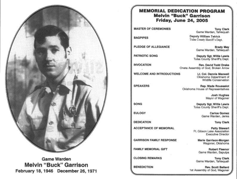 Melvin Garrison Memorial, The Oklahoma State Game Warden Association